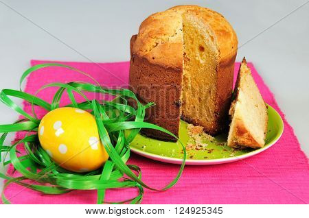 Decorated easter cake and eggs isolated on a white background. shallow depth of field.