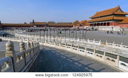 BEIJING CHINA - JANUARY 10 2016: people in Tiananmen Square under the historical architecture of the Forbidden City