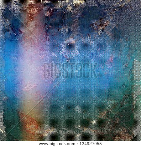 Abstract scratched background or frame with weathered grunge texture. Ancient style backdrop with different color patterns: brown; blue; red (orange); purple (violet); gray
