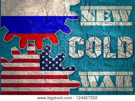 Russia confrontation United States America concept Cold War. Concrete textured. Flags on gears
