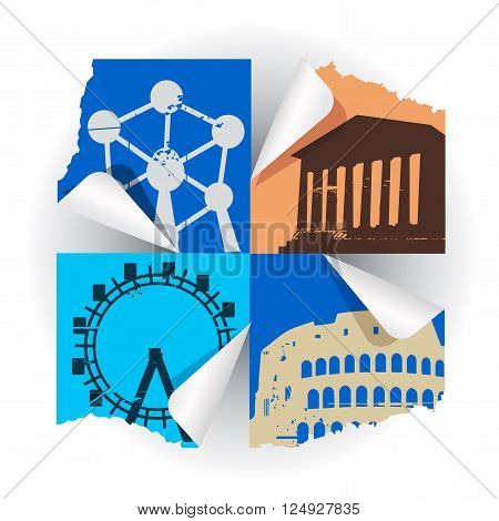 Collage of silhouettes of  famous European buildings. Vector available.