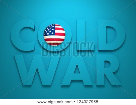Russia confrontation United States America concept Cold War. 3D rendering. Blue text