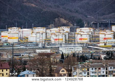 Tuapse, Russia - February 5, 2016: Tuapse Refinery - a Russian company in the Krasnodar region. The bulk of production is exported. Included in the oil company Rosneft.