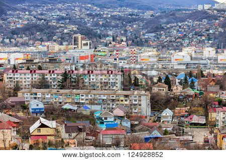 Tuapse, Russia - February 5, 2016: A port city on the Black Sea coast of Krasnodar region of Russia. Large center resort area.