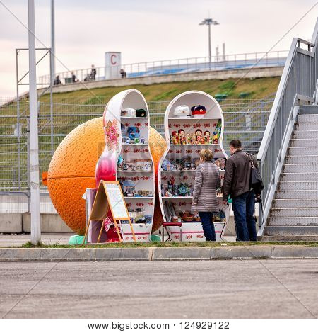 Sochi, Russia - February 5, 2016: Stand in the form of matryoshka for selling souvenirs in Sochi Park