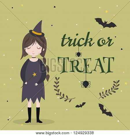 Little cute witch. Halloween poster  background  card. Vector illustration.