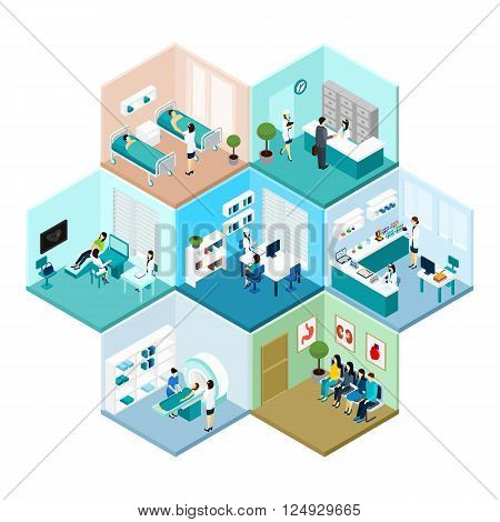 Hospital reception examination and waiting rooms interior tessellated honeycomb hexagonal isometric composition pattern abstract vector isolated illustration