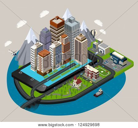 Isometric mobile city concept with abstract buildings street skyscrapers placed on the mobile device styled base vector illustration