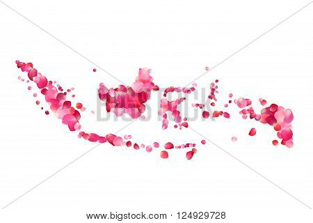 Indonesia. Vector silhouette Sunda Islands map of rose petals
