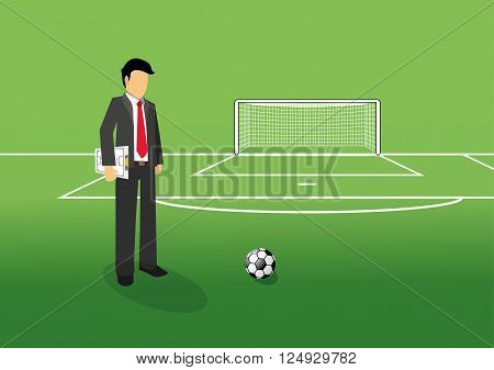 football manager holding tactic board on the field