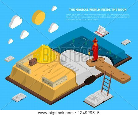 Magical world inside book isometry with treasures and sea at pages on blue background vector illustration