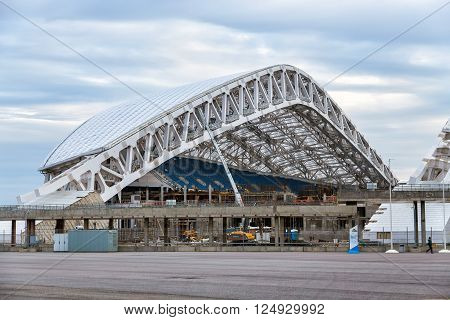 Sochi, Russia - February 5, 2016: Fisht Stadium. Reconstruction of stadium to host matches of world football championship in 2018