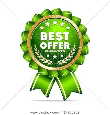Vector 3D Realistic Best Offer Ribbon Medal, Green & Gold
