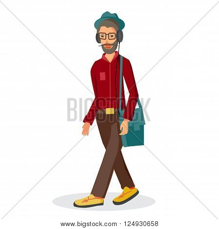 Vector modern flat design hipster wearing headphones listening music. Cartoon character of music lover enjoying his favorite track. Music lover hipster walking in the street with headphones