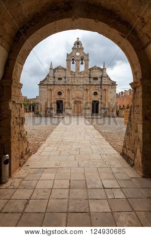 16th century venetian baroque catholicon (church) in Arkadi Monastery Crete Greece