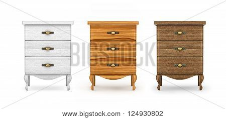 bedside tables a collection of wooden furniture on a white background. 3D Illustration.