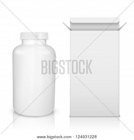 Medicine bottle on white background. White plastic bottle cardboard packaging isolated