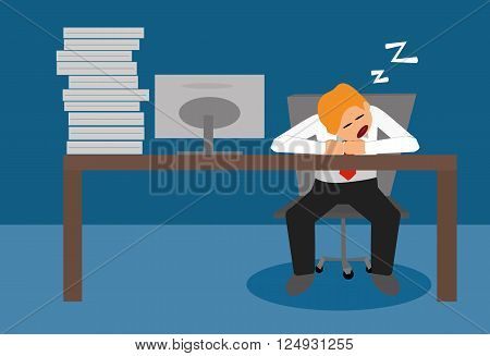 tired lazy business man sleeping at desk