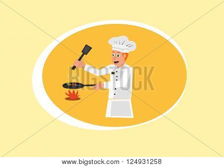 vector illustration of happy restaurant chef cooking in the kitchen