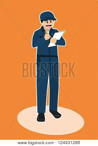 car mechanic repairman inspector vector cartoon character