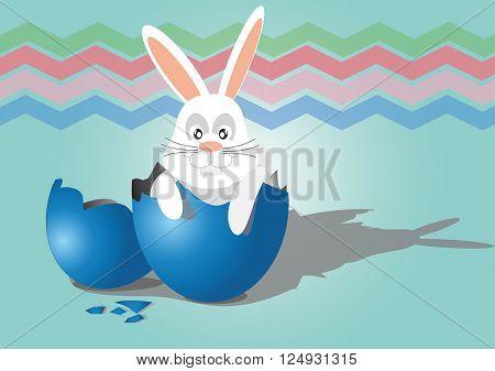 happy easter rabbit in egg shell vector