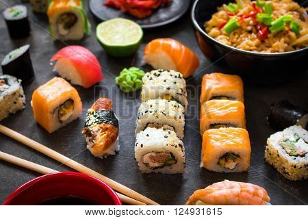 Table Served With Sushi And Traditional Japanese Food