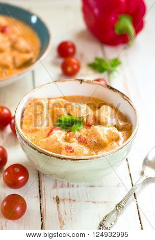 Delicious Chicken Stew With Paprika In A Bowl