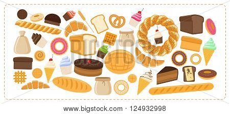 Vector illustration. Flat design style. Set of different kinds of bread sweet pastries and hot bakery products isolated on white background