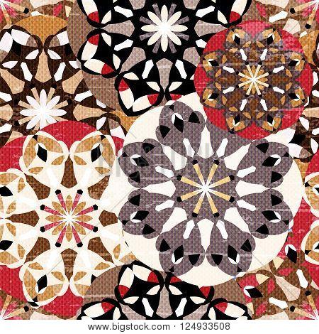 colored mandala seamless vintage tribal seamless pattern grunge texture