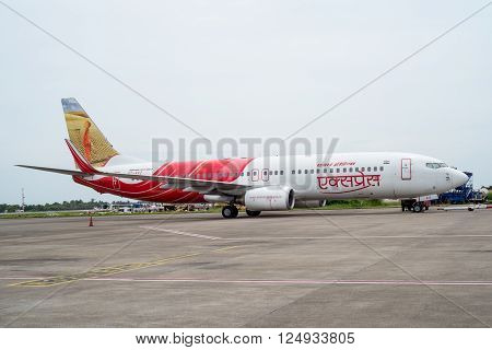 KOZHIKODE INDIA 31- July 2015. Air India Airbus aircraft in Kozhikode Airport as it is starting its engines for flight to Dubai.