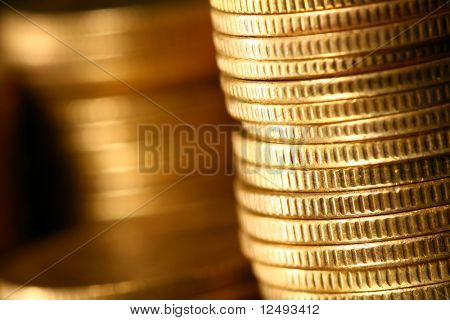 golden piles of coins