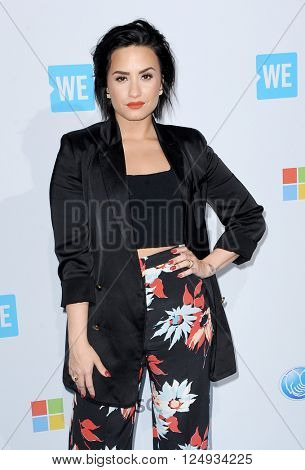 Demi Lovato at the WE Day California held at the Forum in Inglewood, USA on April 7, 2016.