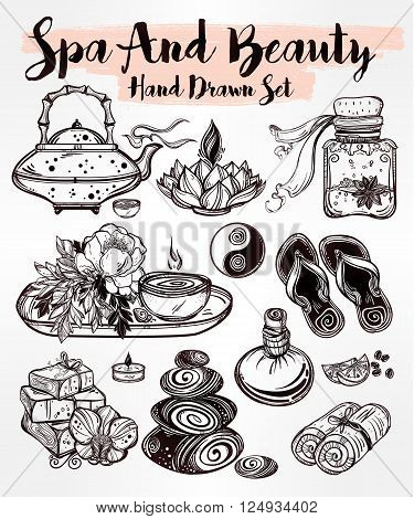 Hand drawn spa illustration set. Isolated  vector illustration. Spa therapy  objects collection, beauty health care, alternative medicine, ayurvedic therapy. Organic treatment concept for your design.