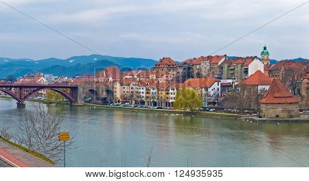 Maribor waterfront and old town view Slovenia