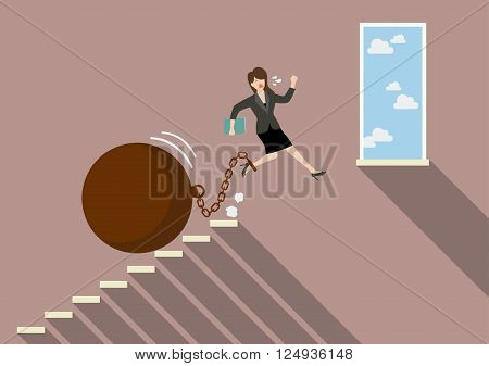 Business woman jumping to freedom with heavy weight burden. Business Concept