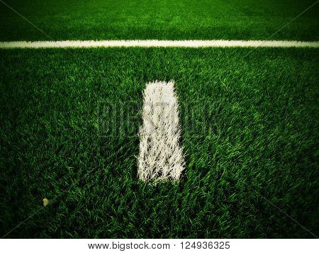 White Line Marks Painted On Artificial Green Turf Background. Outdoor Football Playground
