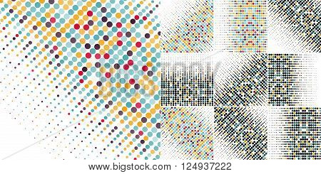 Set of ten editable backgrounds with the colored circles in a vector. Vintage color.