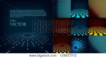 Set of nine abstract blue red and cyan digital vector background posters. Template made with gradient circles and dots effect. Includes flares mesh and halftone. Good design pattern for promotion business and marketing. eps10 glow illustration