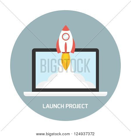 Rocket launch from the laptop. Startup business concept