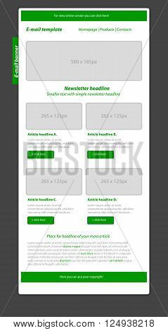 Professional business style newsletter green template for business organization