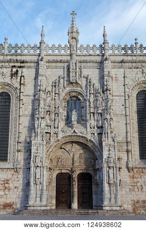 Facade of Jeronimos Monastery, Lisbon, Portuga