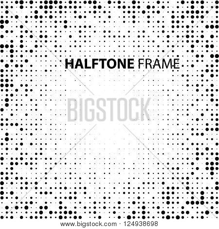 Vector Vintage Stroke Dirty Overlay Distress Border Frame. Rectangle in Grungy Style for your Design . Halftone Dots Overlay Texture .