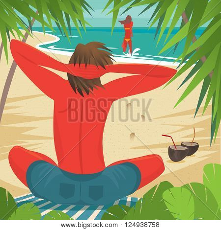 Tanned man sitting on the beach and looking at his girlfriend who is running for a swim - Love or relationship concept