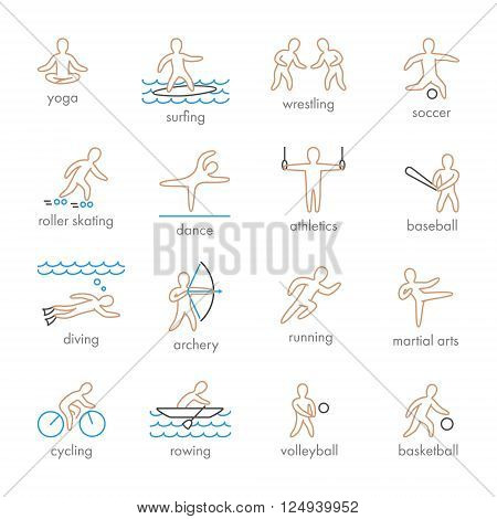 Colored vector icons of sportsmen on white background. Set of linear figures of athletes of water and summer sports. Line figure athletes popular sports. Set of vector athletes.