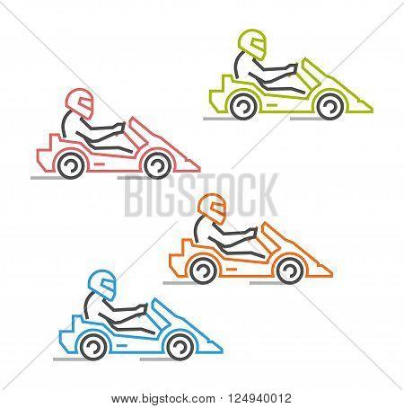 Modern outline go kart symbol. Multicolored line karting logo. Vector figures art racer. Vector line kart. Vector karting icons.