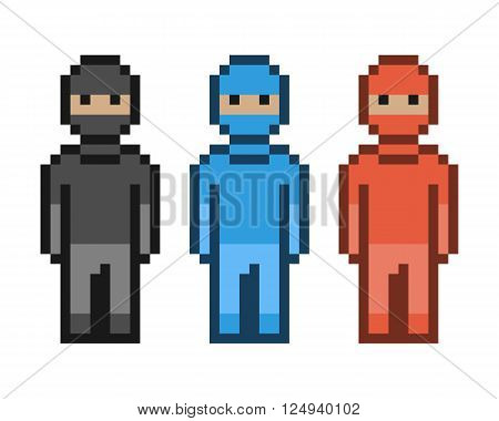 Vector pixel art red blue and black ninja. Pixel units for 8 bit video games.