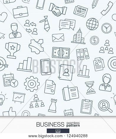 Business strategy wallpaper. Black and white marketing seamless pattern. Tiling textures with thin line web icons set. Vector illustration. Abstract background for mobile app, website, presentation.