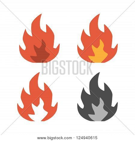Flat icons of fire on white background. Vector isolated set of line fire.