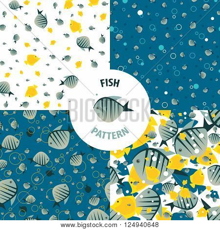 Set of vector sea patterns with striped fishes of bright color. Primary colors blue and yellow