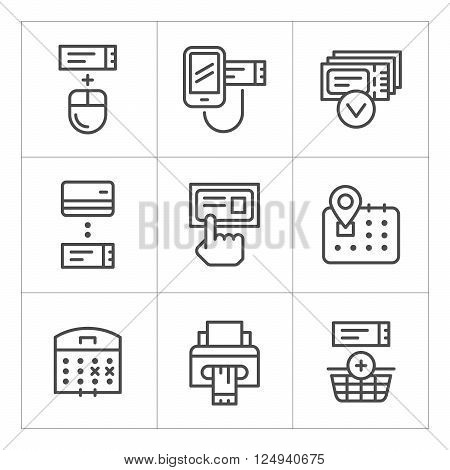 Set line icons of booking tickets isolated on white. Vector illustration